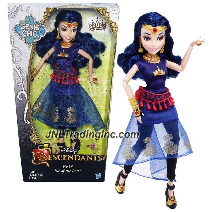 """Hasbro Disney Descendants Genie Chic Series 12"""" Doll -Isle of the Lost EVIE with Earrings and Choker Necklace"""