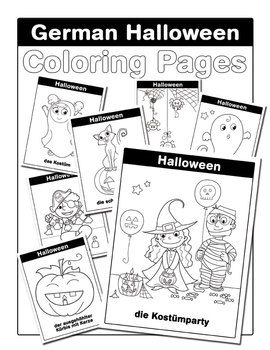 A super-cute set of Halloween coloring pages to celebrate Halloween in German with younger students!   Perfect for learning Halloween-related vocabulary, this set contains seven coloring pages plus a cover sheet. There's absolutely nothing scary about these adorable Halloween images, making them perfect for even your youngest German students.