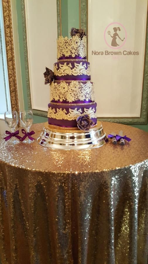 Purple and gold wedding cake  - Cake by Nora Brown Cakes