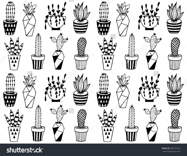 Black And White Cartoon Cactus Pattern Hand Drawn