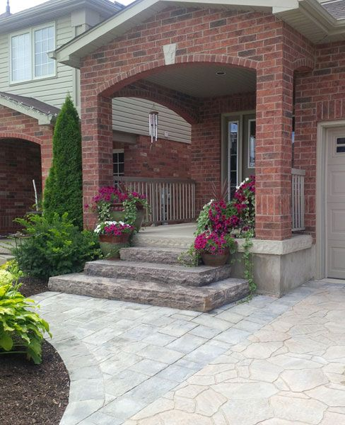 Natural stone steps with Permacon Amalfi and Mega Arbel pavers