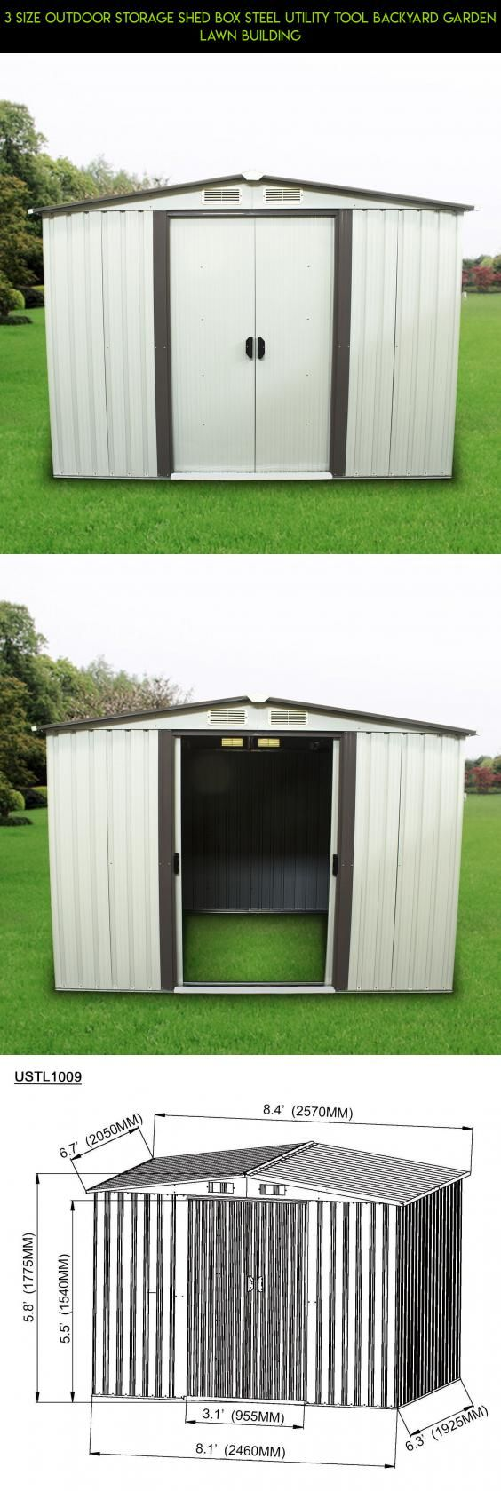 3 Size Outdoor Storage Shed Box Steel Utility Tool Backyard Garden Lawn Building #kit #technology #products #8 #plans #drone #gadgets #parts #shopping #racing #camera #fpv #tech #box #storage