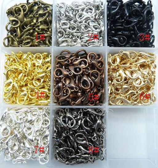 US $2.50 - 100pcs alloy Lobster clasp hook law Necklace bracelet Necklace making 8color - from seller urbandiy on Ebay