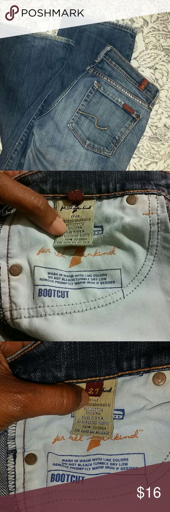 """Authentic 7 All Mankind Bootleg Jeans Sz. 27 Authentic Bootleg jeans. These are gently jeans in great condition.  The price also includes distress at the bottom of jeans, also in Picture 6 a little distress but no holes or rips else where.  Inseam 31"""". Also true to size. Leg opening 8.5"""" laying flat. Open to reasonable offers. Please see the chart on my page. 7 For All Mankind Jeans Boot Cut"""