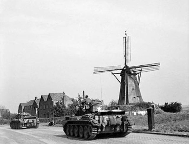 Cromwell tanks of Guard's Armoured Division, British XXX Corps driving along 'Hell's Highway' toward Nijmegen, the Netherlands, 20 Sep 1944
