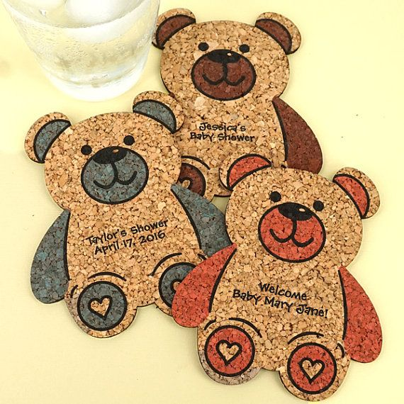 Baby Shower Favor Coasters, Personalized Baby Bear Shaped Cork Coasters, Baby Shower Cork Coaster Favors - Set of 12