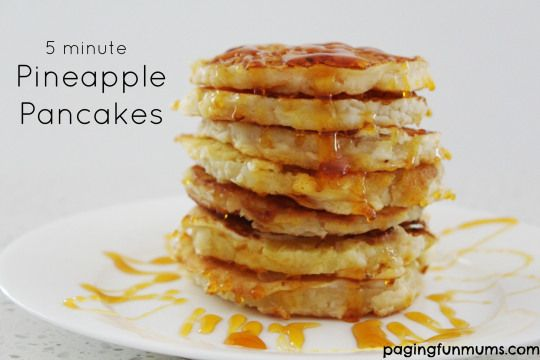 5 minute Pineapple Pancakes! Sooo delicious & so easy to make! The perfect weekend breakfast for kids!