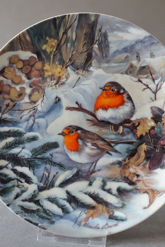 Vintage German Wall Plate robin bird porcelain by MightyVintage
