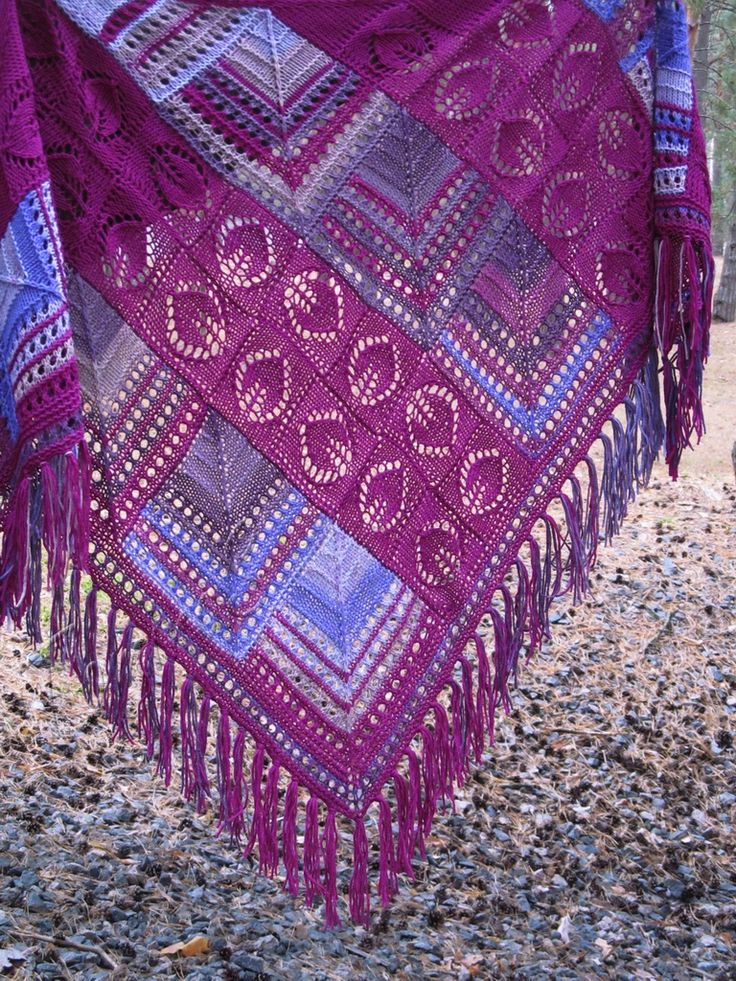 """Patches"" ruby (knitted shawl, wrap, knitting lace, entrelac, modular shapes, grannie squares, knitting patchwork)"