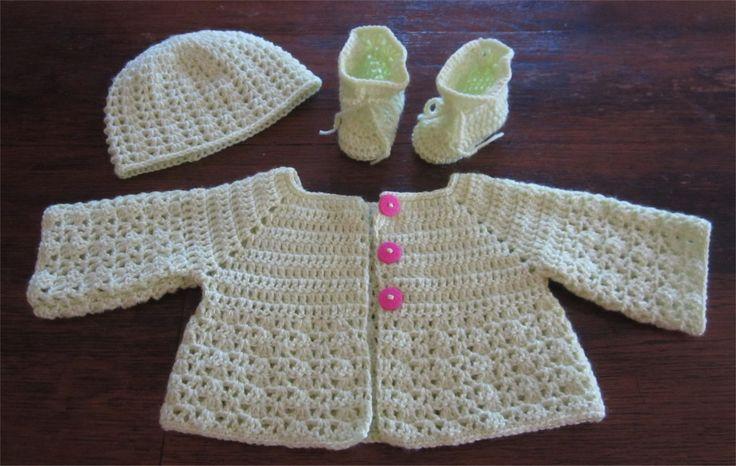 Fiche Patron Crochet Layette 6, Ensemble Pistache : Brassière, Bonnet et Chaussons Bébé au crochet : Tutoriels de fabrication par atelier-crochet