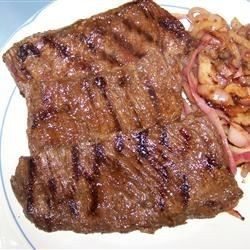 There's just something about soy sauce and lemon juice that makes flank steak become moist and flavorful. The longer you marinate the meat, the more tender it gets. Grill and slice on the diagonal, and you have a great meal.
