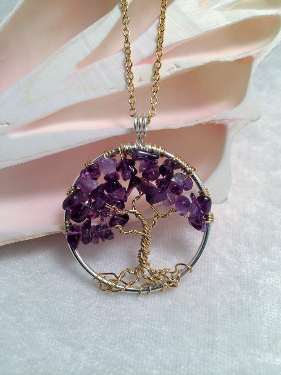 Tree Of Life Necklace Amethysth Pendant On Gold by Just4FunDesign, $30.00