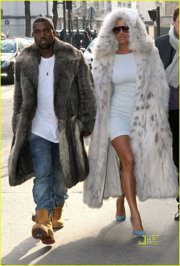 Image detail for -fur coats of amber rose and kanye west in louis vuitton paris fashion ...