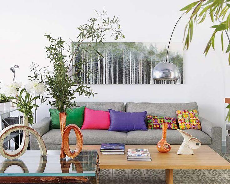 canapé gris- coussins multicolores!