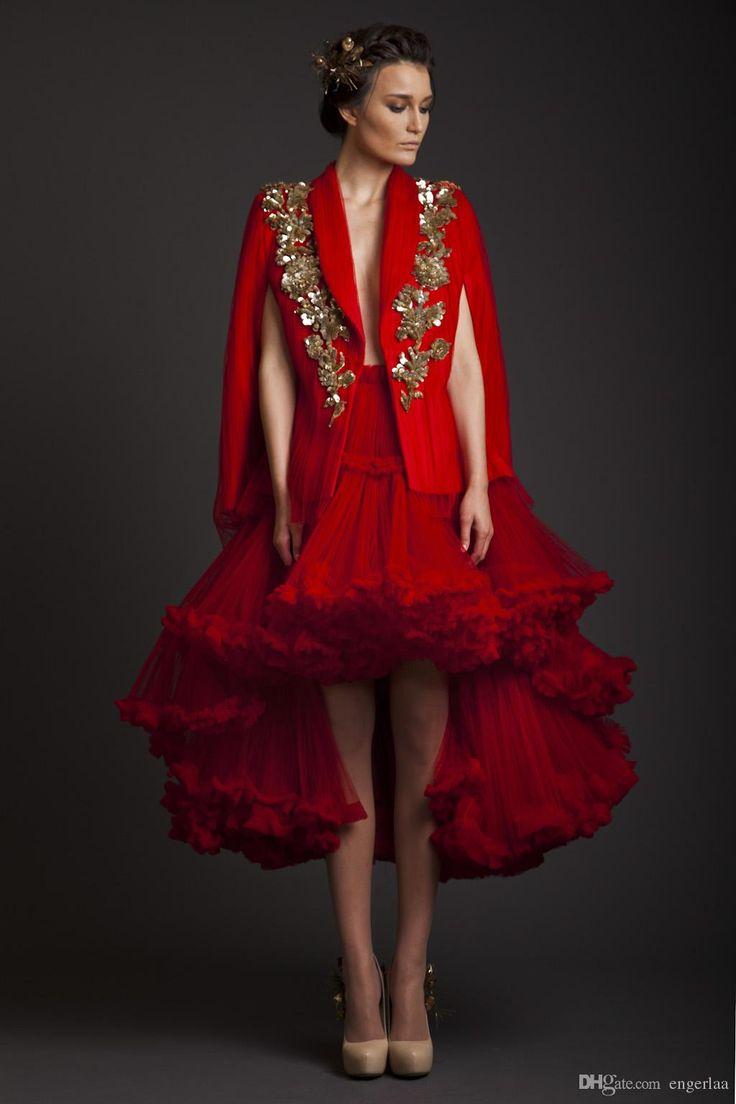 Abiti rossi Due Pezzi Prom Dresses 2015 Krikor Jabotian disegno dorato Applique Backless sexy Alto Basso partito da sera vestiti convenzionali vestido ZC