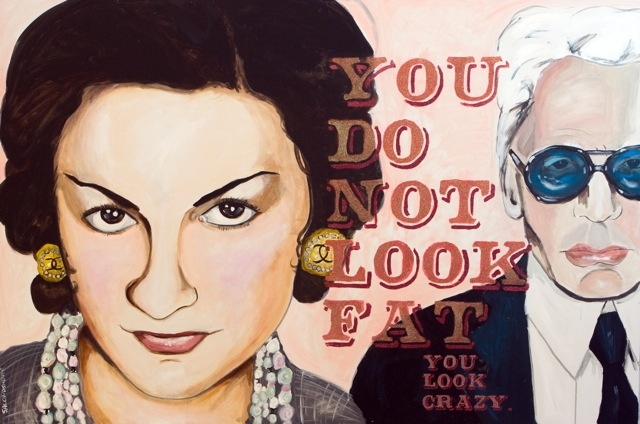 """Sarah Ashley Longshore """"You do not look Fat""""  48""""x72"""" acrylic and resin on Canvas"""