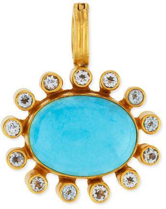 Dina Mackney Turquoise Cabochon & Topaz Bezel Enhancer