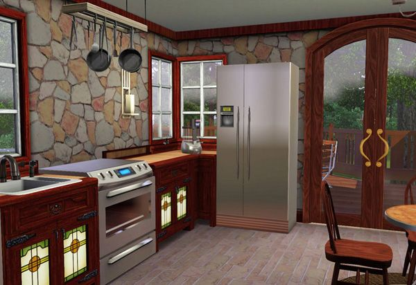 Sims 3 craftsman style cottage kitchen compatible with for Sims 3 kitchen designs