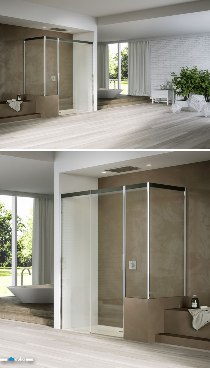 acqua R • a large shower enclosure for a great and positive impact on your bathroom design. A central sliding door accounts for a very special shower emotion. The additional shortened side panel gives space to a little shelf: a unique bathroom example.