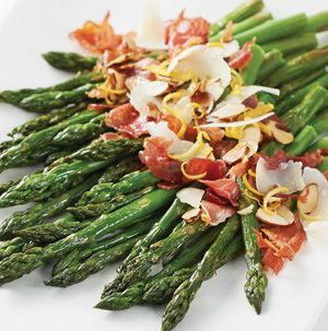 We just love the combination of asparagus and prosciutto. Asparagus with Crispy Prosciutto and Almonds may be a side dish, but it will certainly be the star of the meal.
