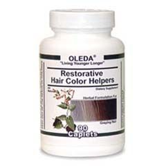 "Oriental Herbs in OLEDA Restorative Hair Color Helpers help to stimulate the production of the body's hair pigment, which decreases as we age. The lack of pigment cells in a hair follicle produces ""transparent"" hair with little or no color, causing it to appear gray, silver or white. As pigment cells fail one by one, ""transparent"" hair appears one by one, creating that salt and pepper look, until the hair finally becomes totally ""transparent' (gray, silver or white)..."