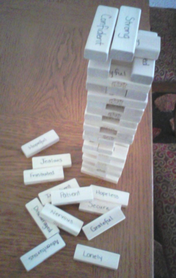 """Been using """"Feelings Jenga"""" for a while. It can be used to assist client to identify feelings, take turns,,,or just play with blocks free style and build."""