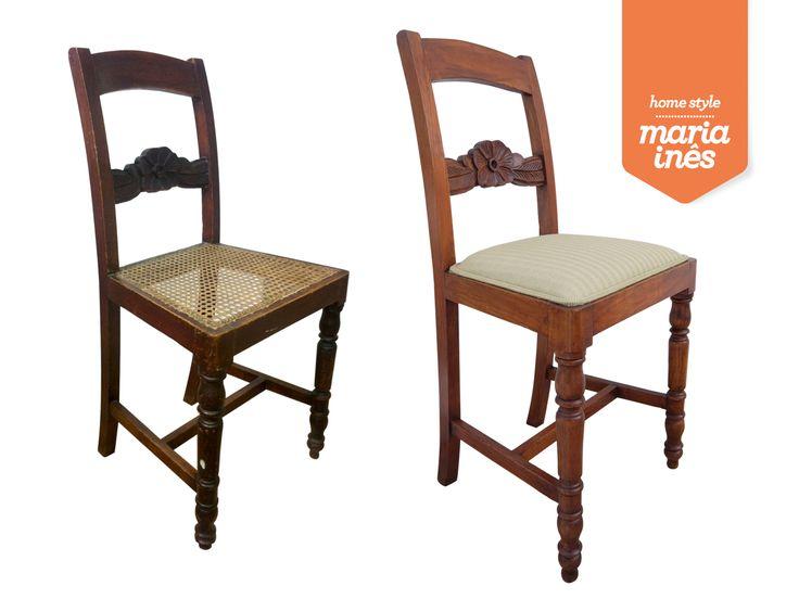 Esta cadeira foi comprada já com a ideia de ser restaurada por mim. Foi também estofada e ficou exatamente como era pretendido - Restauro para Cliente.