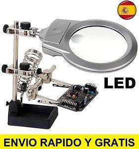 a lupa con pinzas y soporte de precision luz led powerfix tercera mano