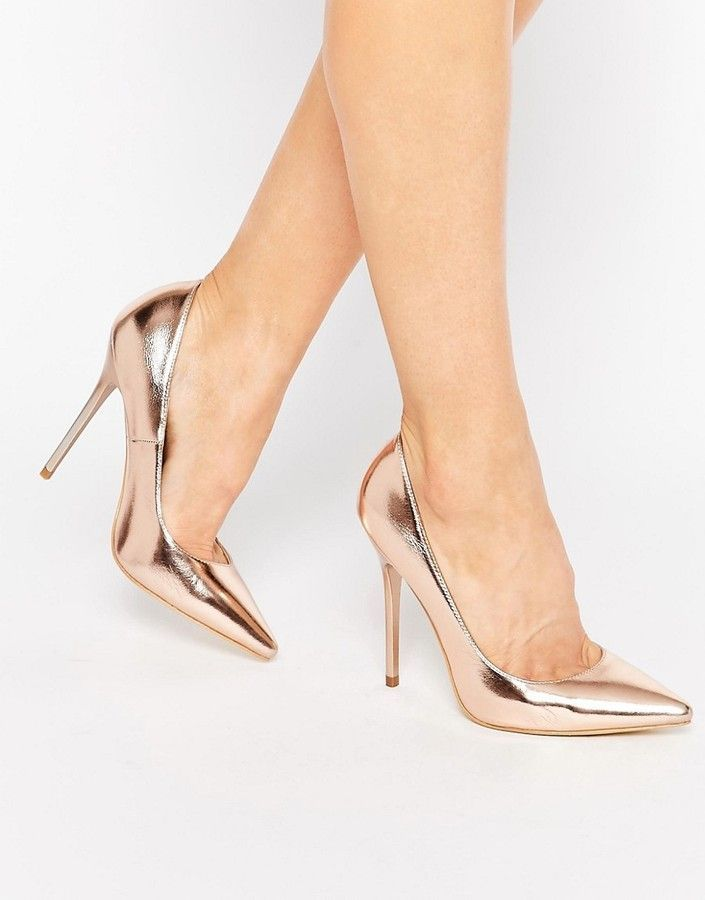 These rose gold pumps will dress up any look.