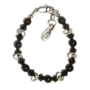 Sterling Silver Children's Bracelet for Infant and Baby Bracelet (0-12 months) with Black Onyx in Black Velvet Gift Box Tiny Treasures. $21.99. Sterling Silver Baby Bracelet. Hand-made in USA. Adjustable Sizing with Grow-with-me Extension Chain. Save 45% Off!