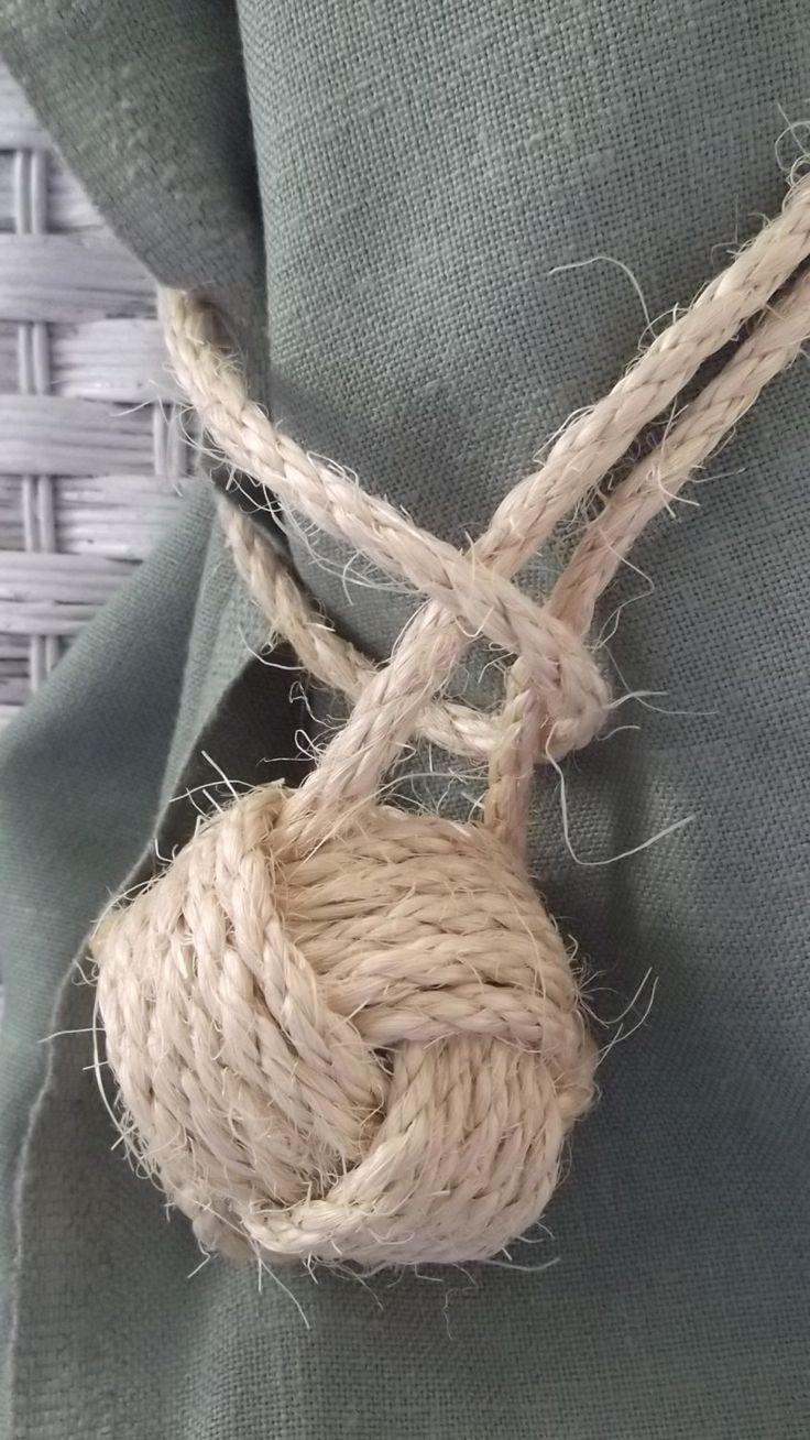 Nautical Decor - 20 rope curtain tie backs - drapery holders - sisal.  via Etsy.