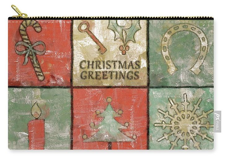 Christmas Carry-all Pouch featuring the painting Vintage Christmas Greetings by Grigorios Moraitis