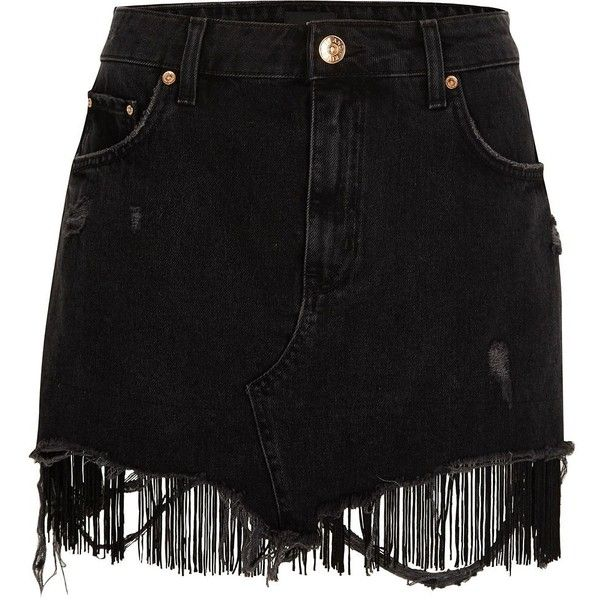 River Island Black tassel hem distressed denim mini skirt (£55) ❤ liked on Polyvore featuring skirts, mini skirts, black, women, distressed skirt, zipper mini skirt, zipper skirt, distressed denim mini skirt and river island