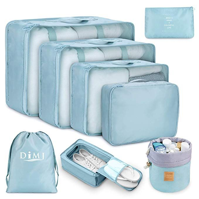 TRAVEL sets- 5 pc Packing Cubes Extra Portable Tech Accessories Organization Case- Small Medium Large Size Cubed Cases- Shoes Bag-Waterproof Fabric- Color Blue Ultra light Travel Organizer Bags