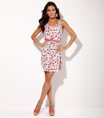 Vestido mujer sin mangas estampado flores cinturón.