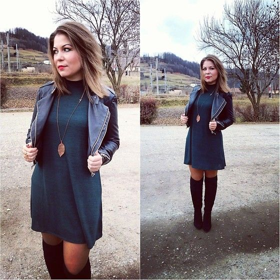 Get this look: http://lb.nu/look/7906340  More looks by Zsuzsi Manya: http://lb.nu/user/3069740-Zsuzsi-M  Items in this look:  H&M Green Dress, Ccc Otk Boots, Amisu Leather Jacket