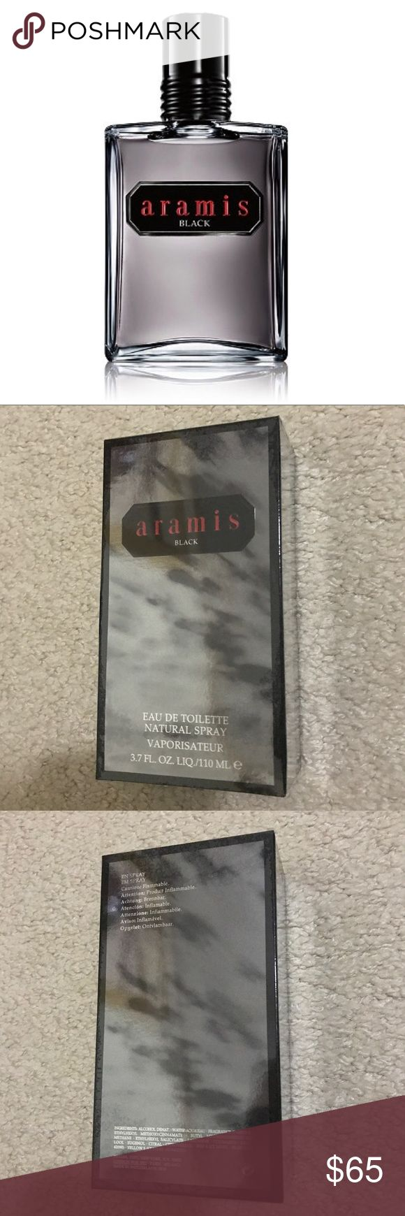 ✨NEW✨Aramis Black Eau de Toilette (3.7 fl oz) ✔️UNOPENED   Racy and mysterious, Aramis Black is ideal for the modern man. Aramis Black represents another dimension to the Aramis man.  Fragrance Notes: Top - Orange oil, blackcurrant, violet leaves, iced grapefruit Middle - Cassie absolute Egypt LMR, Jasmine sambac, Turkish rose LMR Base - Cedarwood heart LMR, vibrant amber woods, cashmeran Sephora Other