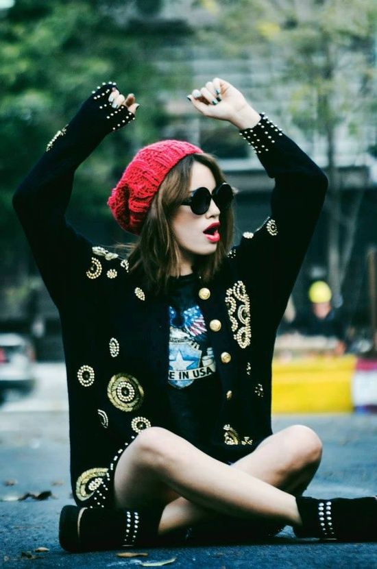 Embellished sweater and beanie. I need these for my fashion bum look.