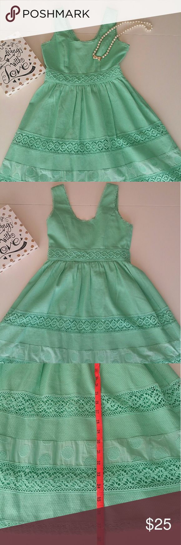 Jessica Simpson Cotton Dress Mint green Super adorable Jessica Simpson cotton A line dress with crochet trim. Perfect for summer. Dress up with wedge sandals or down with ballerina flats or sandals. Dress has been gently used. There are two or three little stains as pictured that may come out with dry cleaning. See pictures for measurements. Feel free to ask questions. Jessica Simpson Dresses