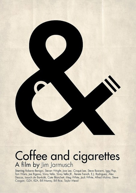 Such a clever design incorporating the coffee and cigarette from the title into the ampersand so well. I think the designer is Viktor Hertz. #wordmarks #logos