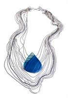 Colar Pingente Ágata Azul - Banho Prata e Paládio (EPM.A15) - Loja - Acessórios::Loja - Mãos da Terra