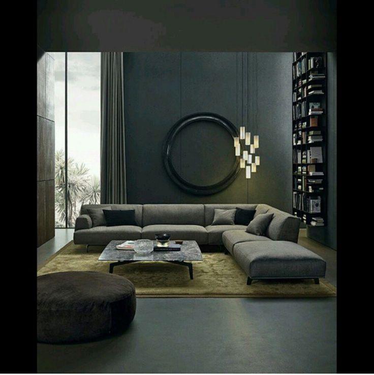 Modern Living Room Grey Walls living room decor with grey sofa - creditrestore