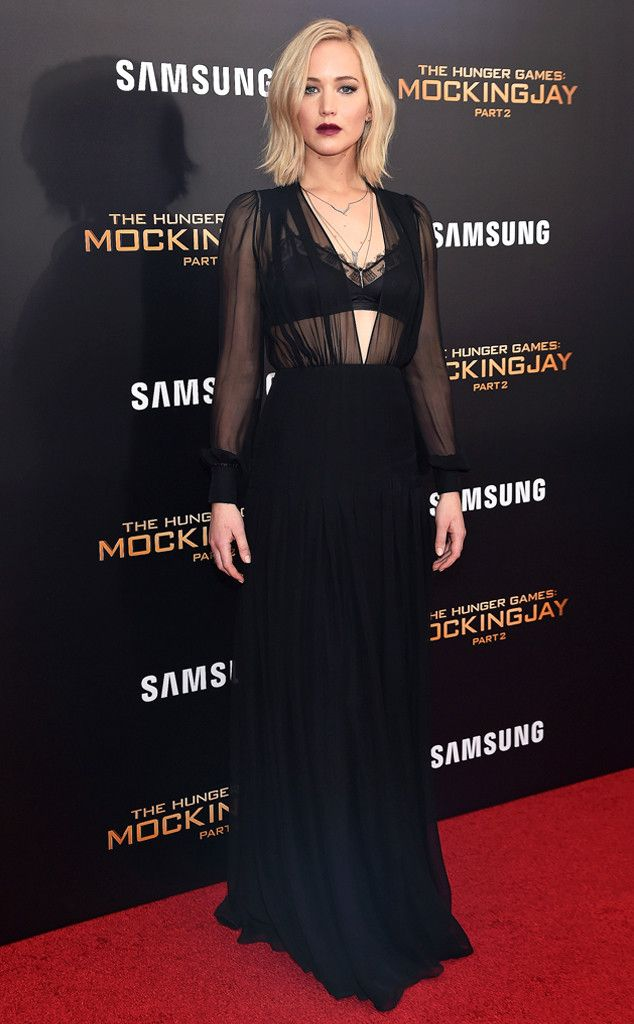 Jennifer Lawrence from The Hunger Games: Mockingjay Part 2 Premieres  In Eva Fehren jewelry.