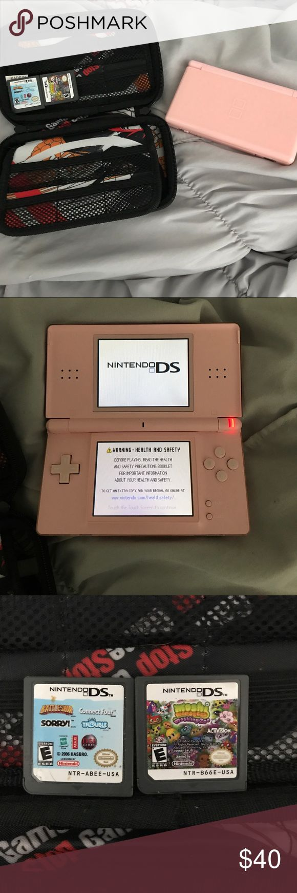 Nintendo Ds Pink, perfect condition, comes with protective carrying case and two games. No charger or stylus Other