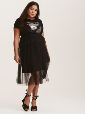 Black Mesh Ruffled Dress With Attached Tee in Black