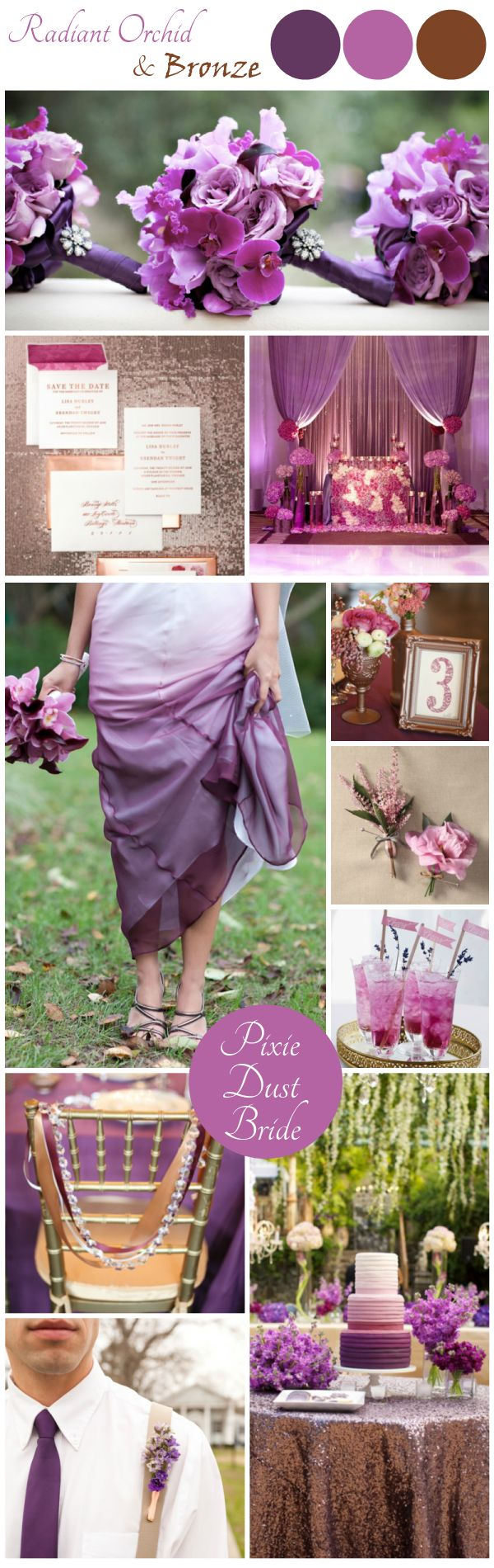 It's official - I'm obsessed with the Pantone Color of the Year, Radiant Orchid! I made this Bronze and Orchid Wedding Inspiration Board and love it.