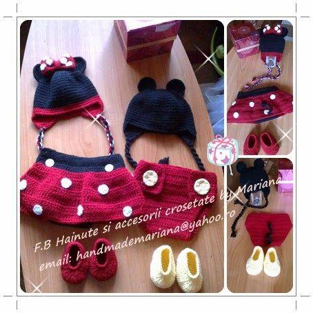 Hainute si accesorii crosetate by Mariana: Mickey si Minnie - costumase pentru sedinta foto.