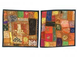 2 Patchwork Cushion Cover Vintage Sari Pillow Case