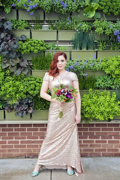 Playful michigan greenhouse wedding sequin gown pop of for 693 5th avenue salon