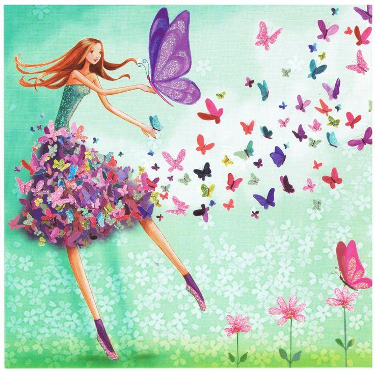 Mila Marquis : Femme en Jupe Papillons - Cartes d'Art/Mila Marquis - Lulu Shop